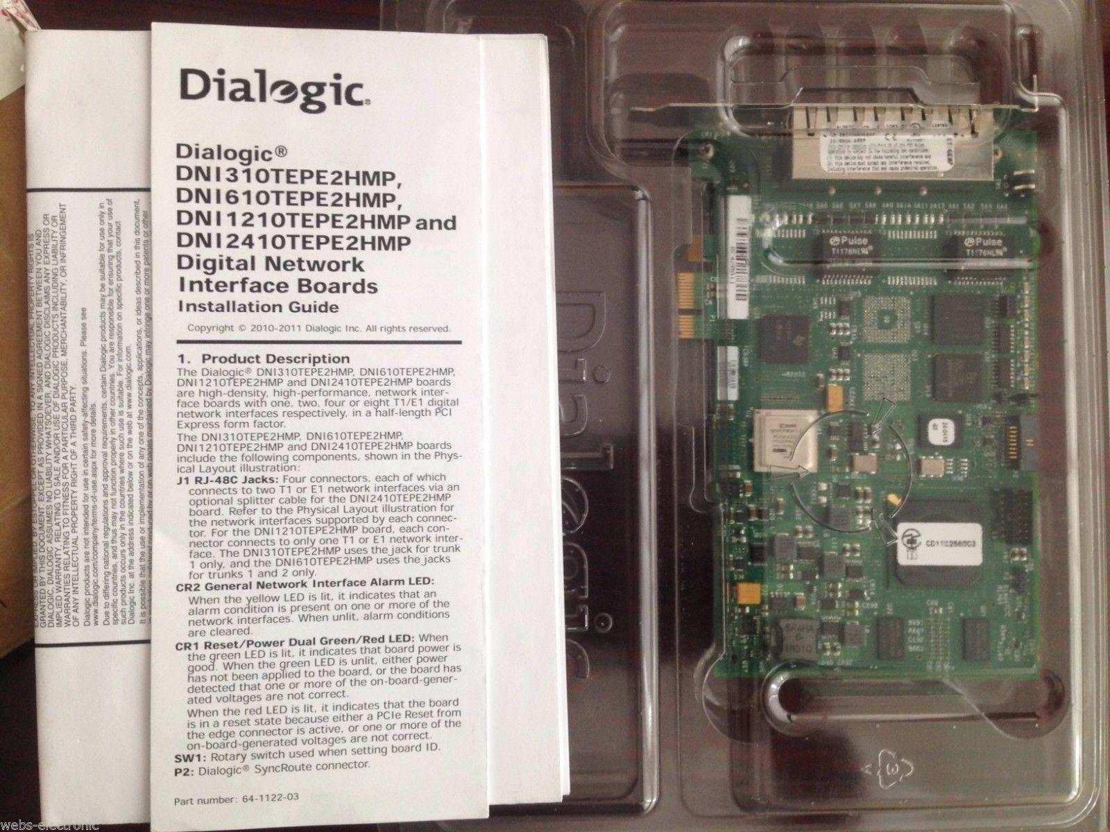 Dialogic 306-484-51 digital network interface board dni610tepe2hmp ebzxdnangemp