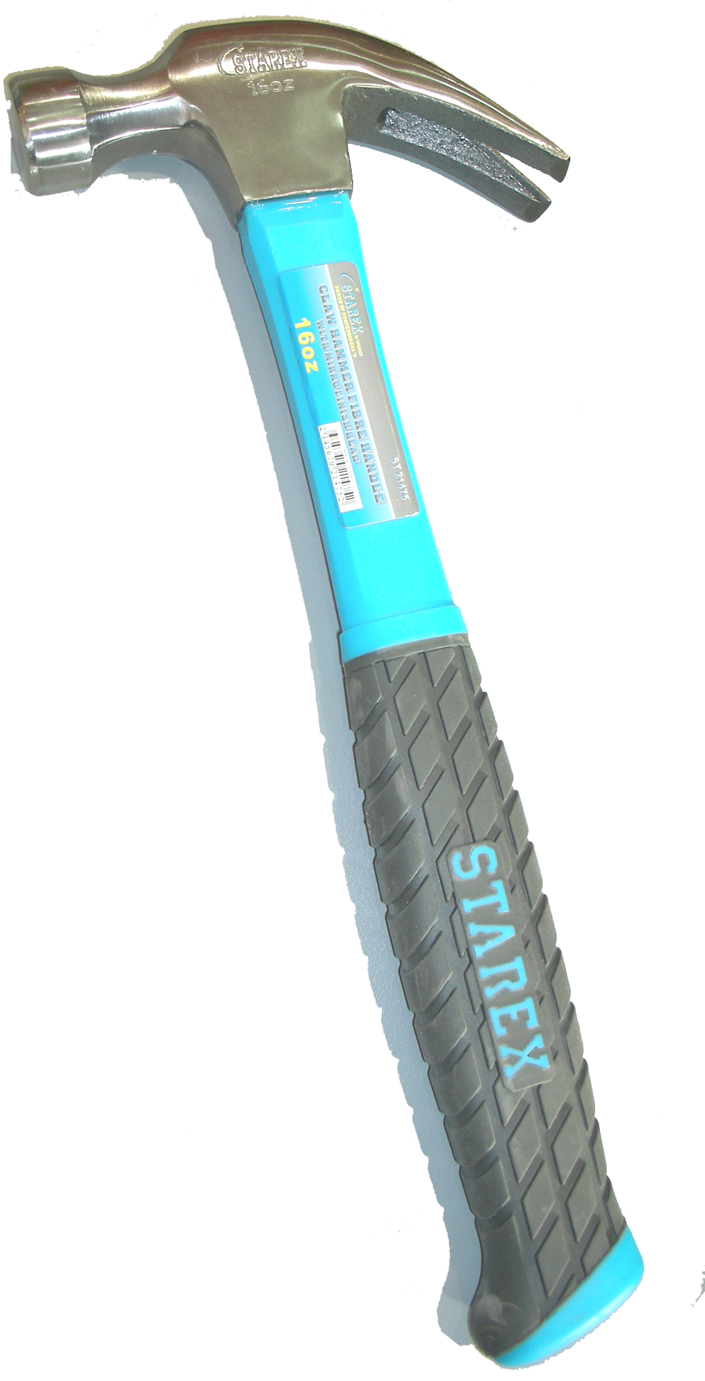 Hammer claw 16oz fibre handle with magnet soft rubber grey/blue grip starex brand