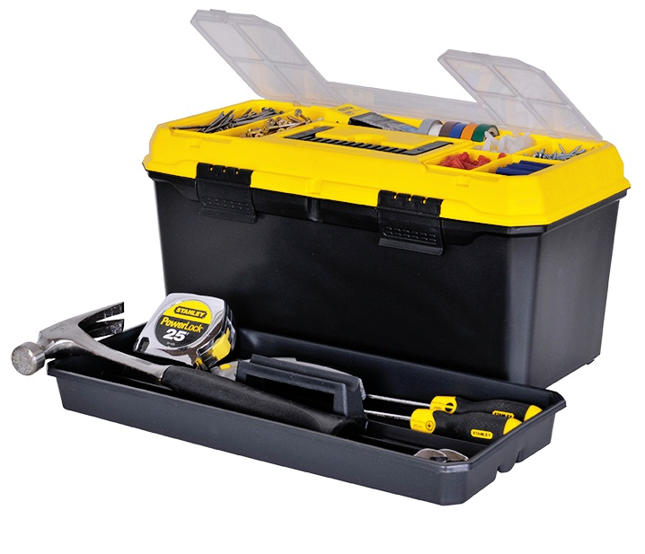 Stanley plastic tool box yellow & black 16