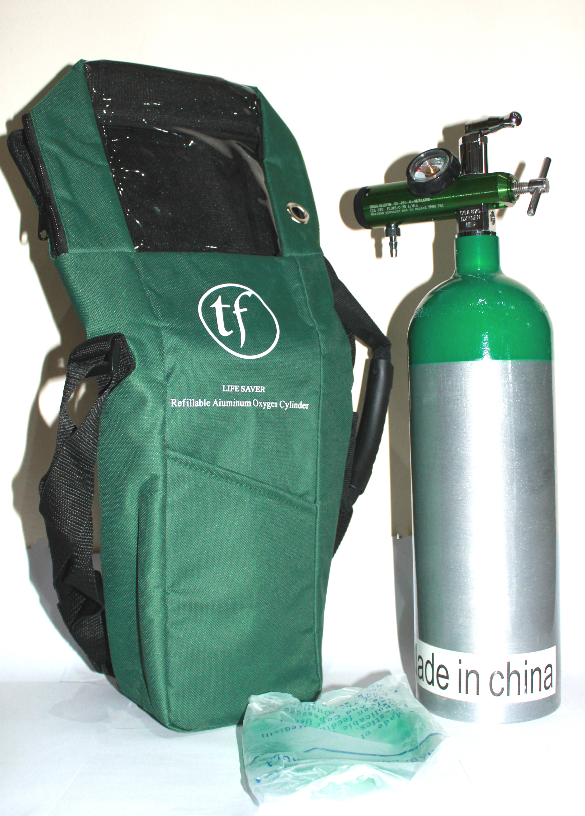 2L medical oxygen cylinder with portable bag