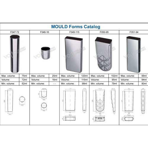 Ice cream equipment mould forms