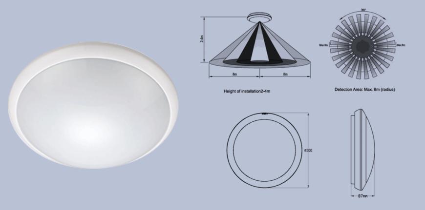 Mlbh-cm-r-16w-sdim waterproof led sensor light with dimming control