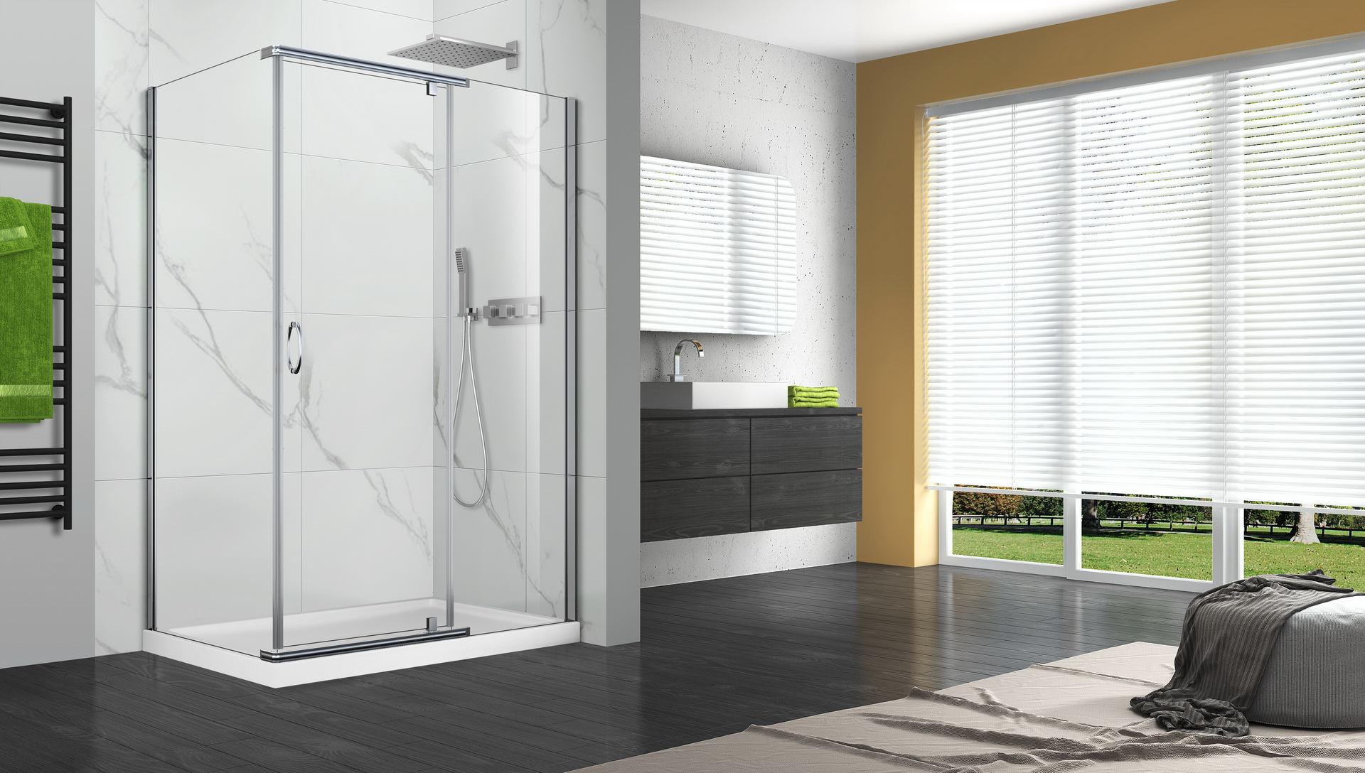 P02re01 pivot series shower doors