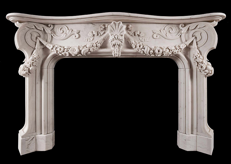 Italian baroque style statuary marble fireplace