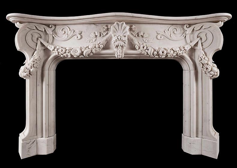 Italian Baroque Style Statuary Marble Fireplace_2