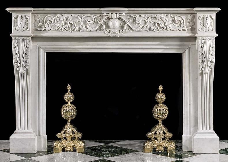Carrara marble fireplace mantel