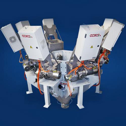 Volumetric feeders, dosing and microdosing powder and granular machine