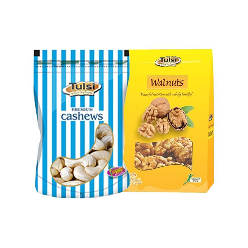Combo tulsi cashews w-320 gold 200g - walnut kernels diamond 200g