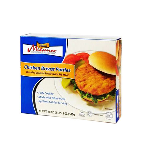 Halal chicken breast patties (fully cooked)
