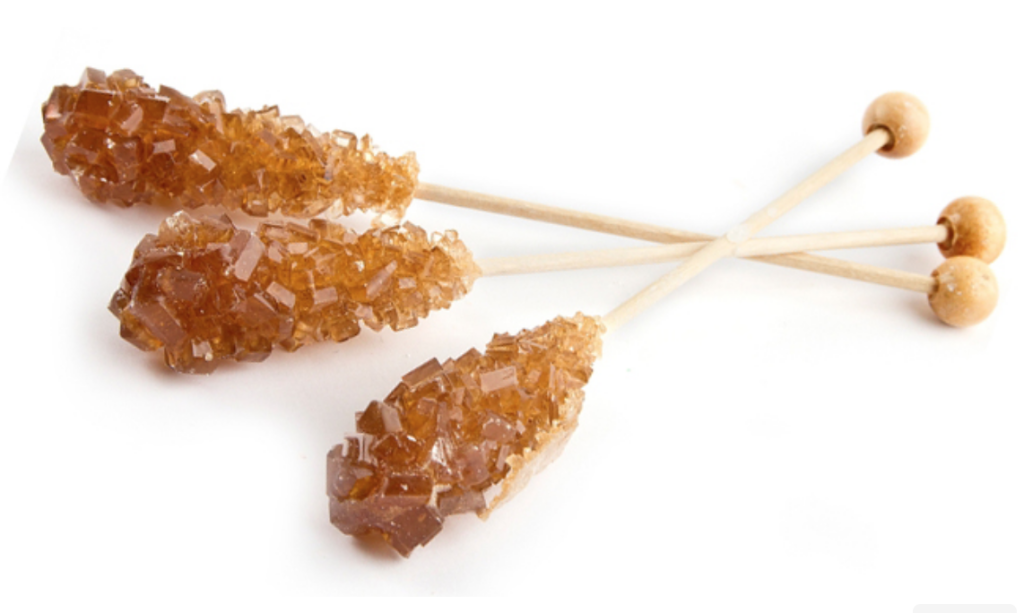 BROWN ROCK CANDY 6 STICKS