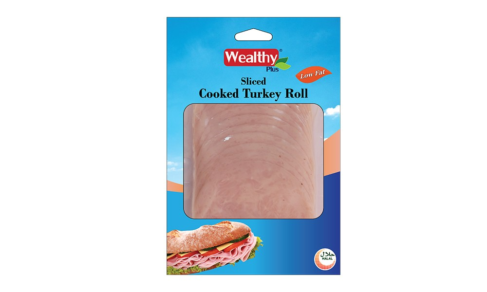 Sliced cooked turkey roll
