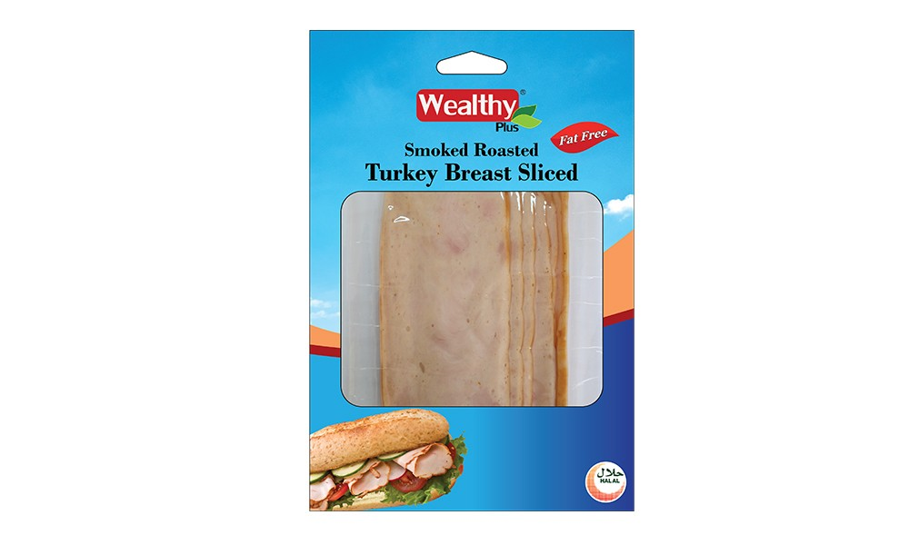Smoked roast turkey breast sliced