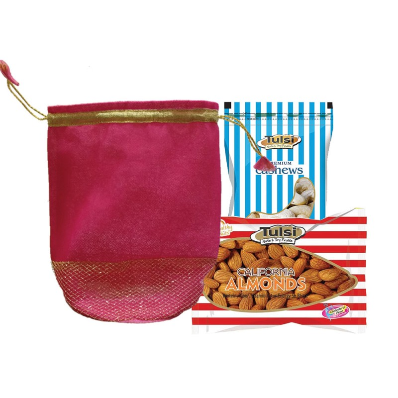 Wedding dry fruits gift pack of tulsi cashews 200g + california almonds 500g
