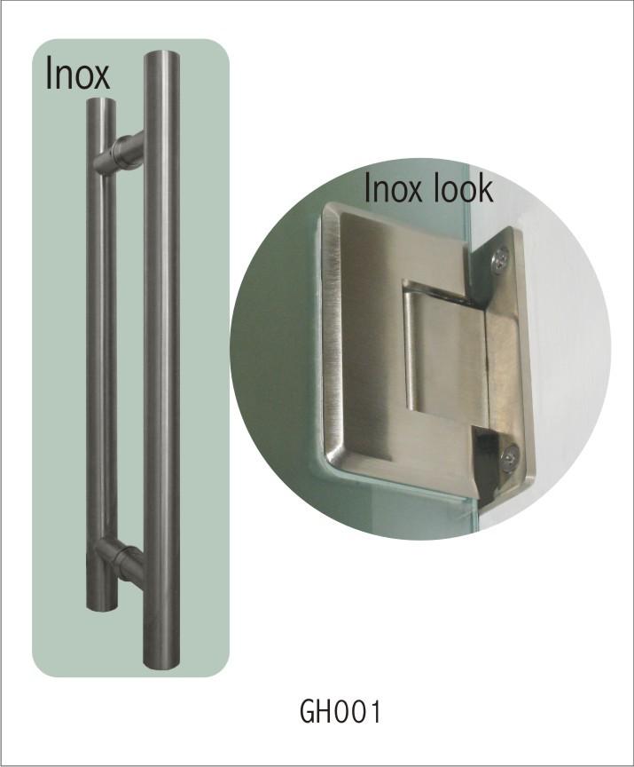 GH001(stainless steel glass door handle+ stainless steel look hinges)_2