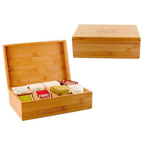 Wooden tea box with tea bags sc1004