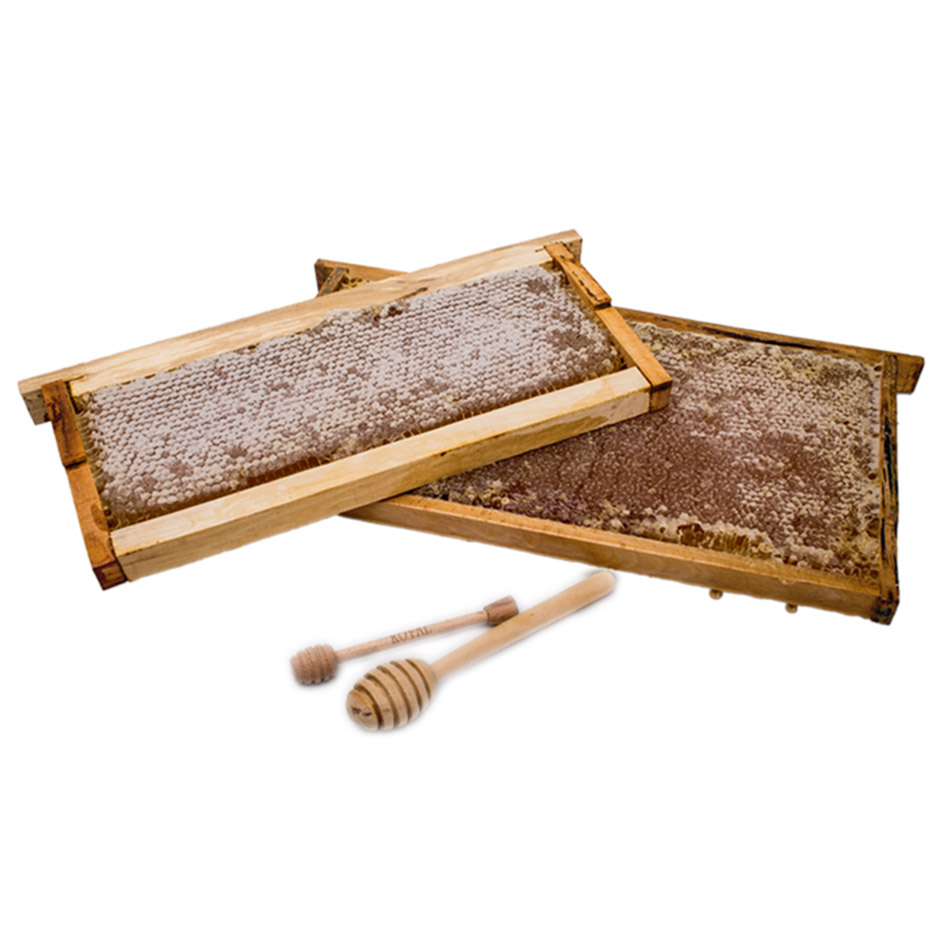 Comb honey with wooden frame
