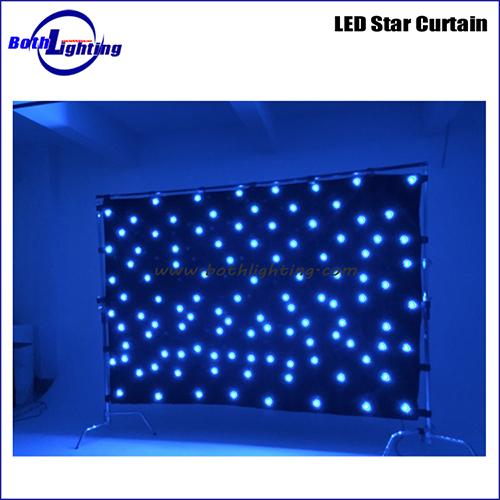 Blue color led star cloth curtain