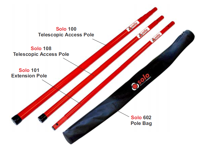 Solo 100 fibreglass telescopic pole 4.5 mtr