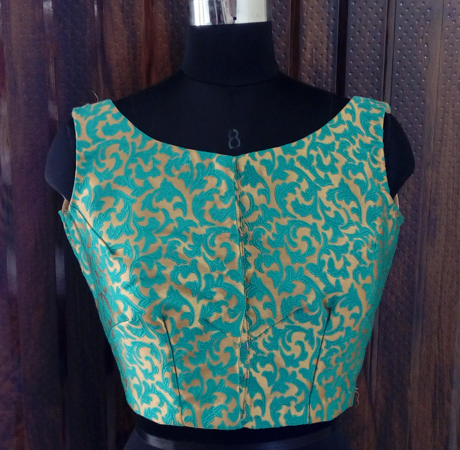 Sky blue brocade blouse