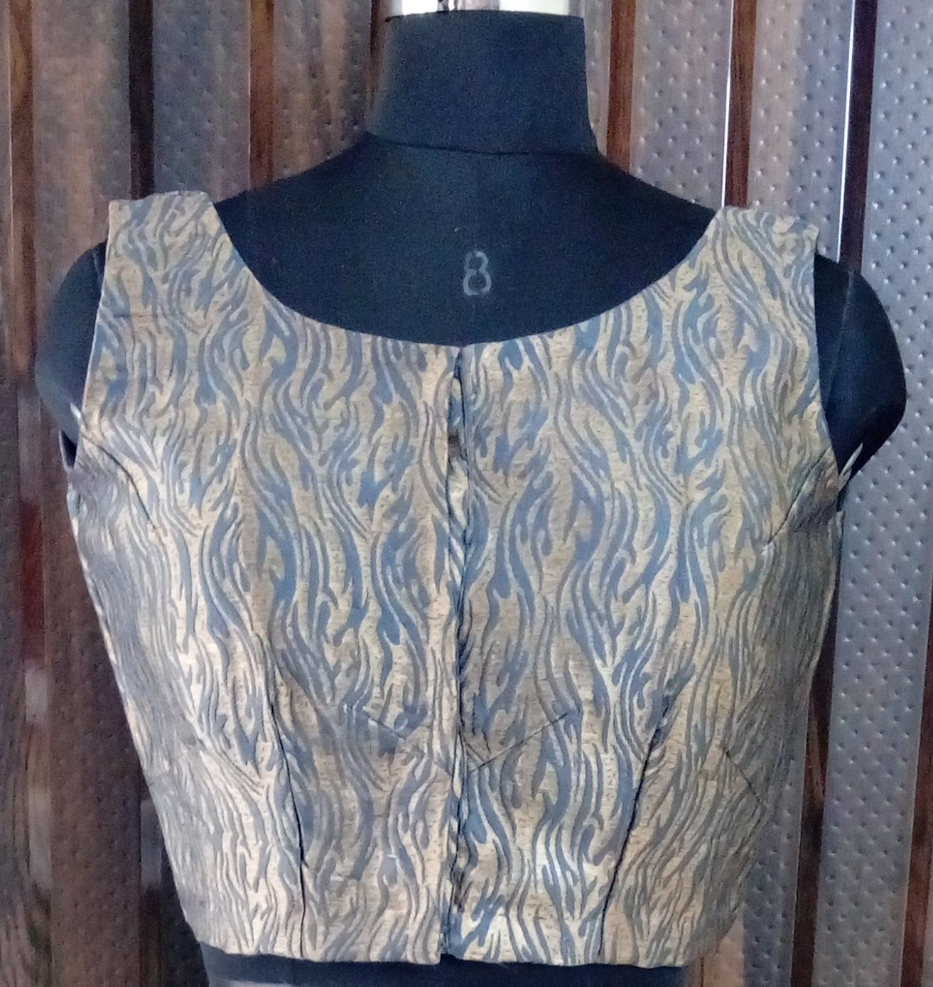 Gray brocade blouse