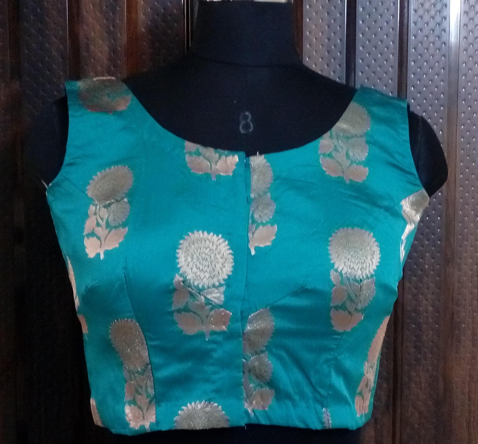 Blue brocade dupion blouse