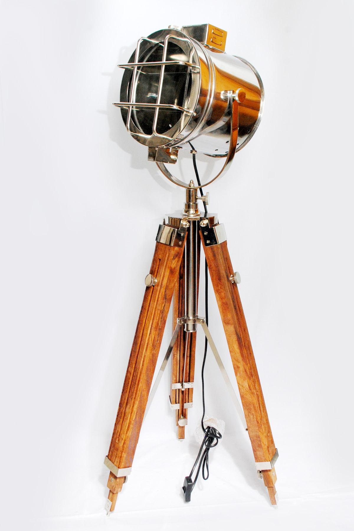 wooden tripod antique lamp