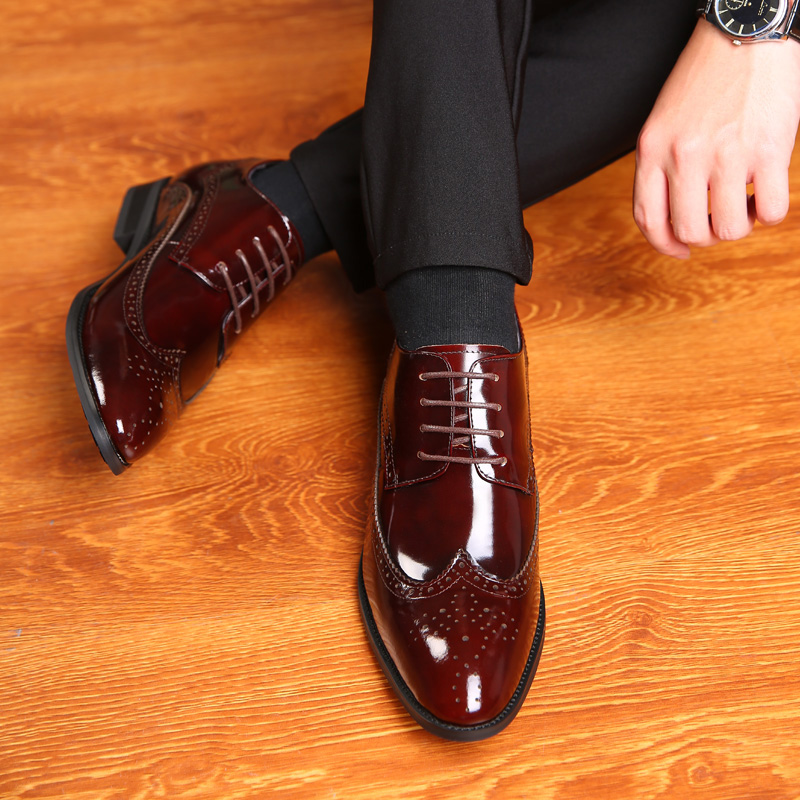 2.76 Inches Taller Men's Bullock Carved Leather Formal Shoes Height Increasing Elevator Shoes_4