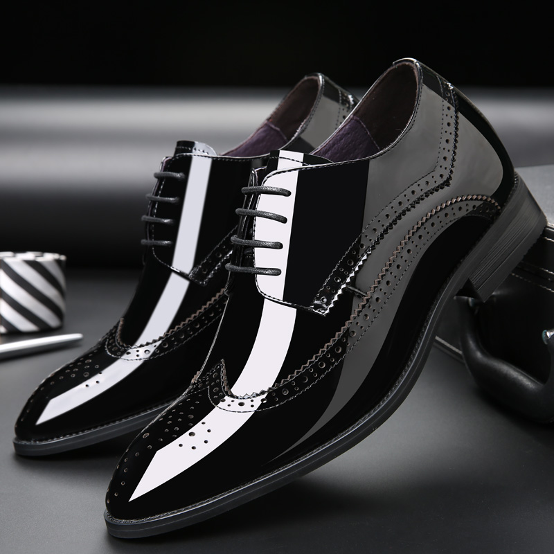2.76 Inches Taller Men's Bullock Carved Leather Formal Shoes Height Increasing Elevator Shoes_7