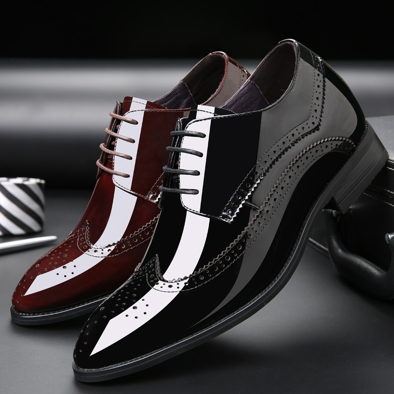 2.76 inches taller men's bullock carved leather formal shoes height increasing elevator shoes