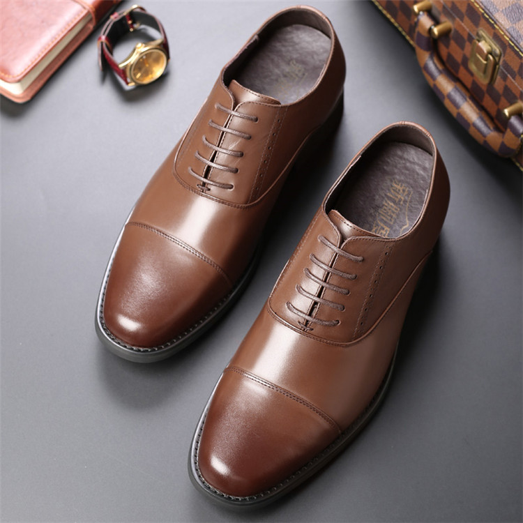 Taller Men 7 cm Height Increasing Elevator Leather Shoes_11