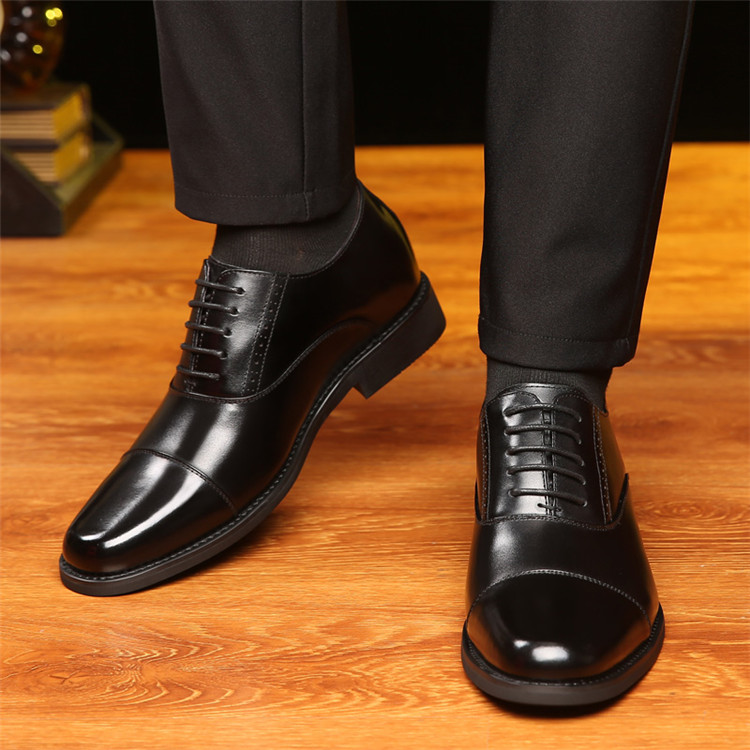 Taller Men 7 cm Height Increasing Elevator Leather Shoes_4