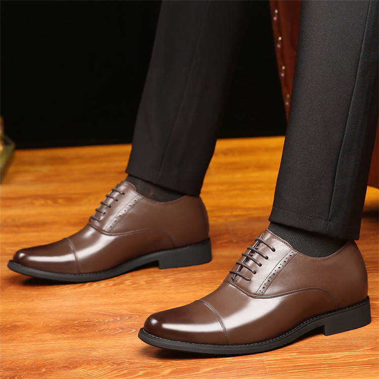 Taller Men 7 cm Height Increasing Elevator Leather Shoes_6