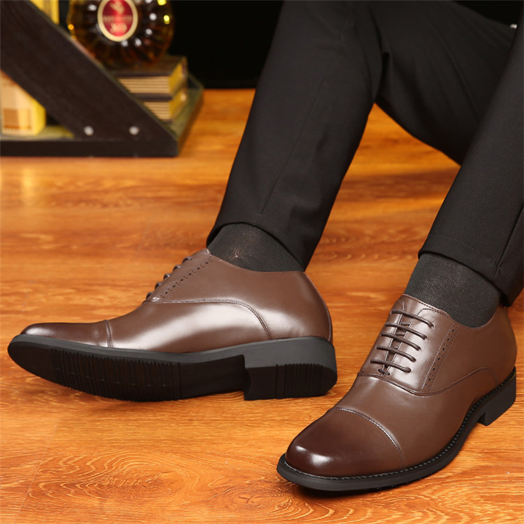 Taller Men 7 cm Height Increasing Elevator Leather Shoes_8