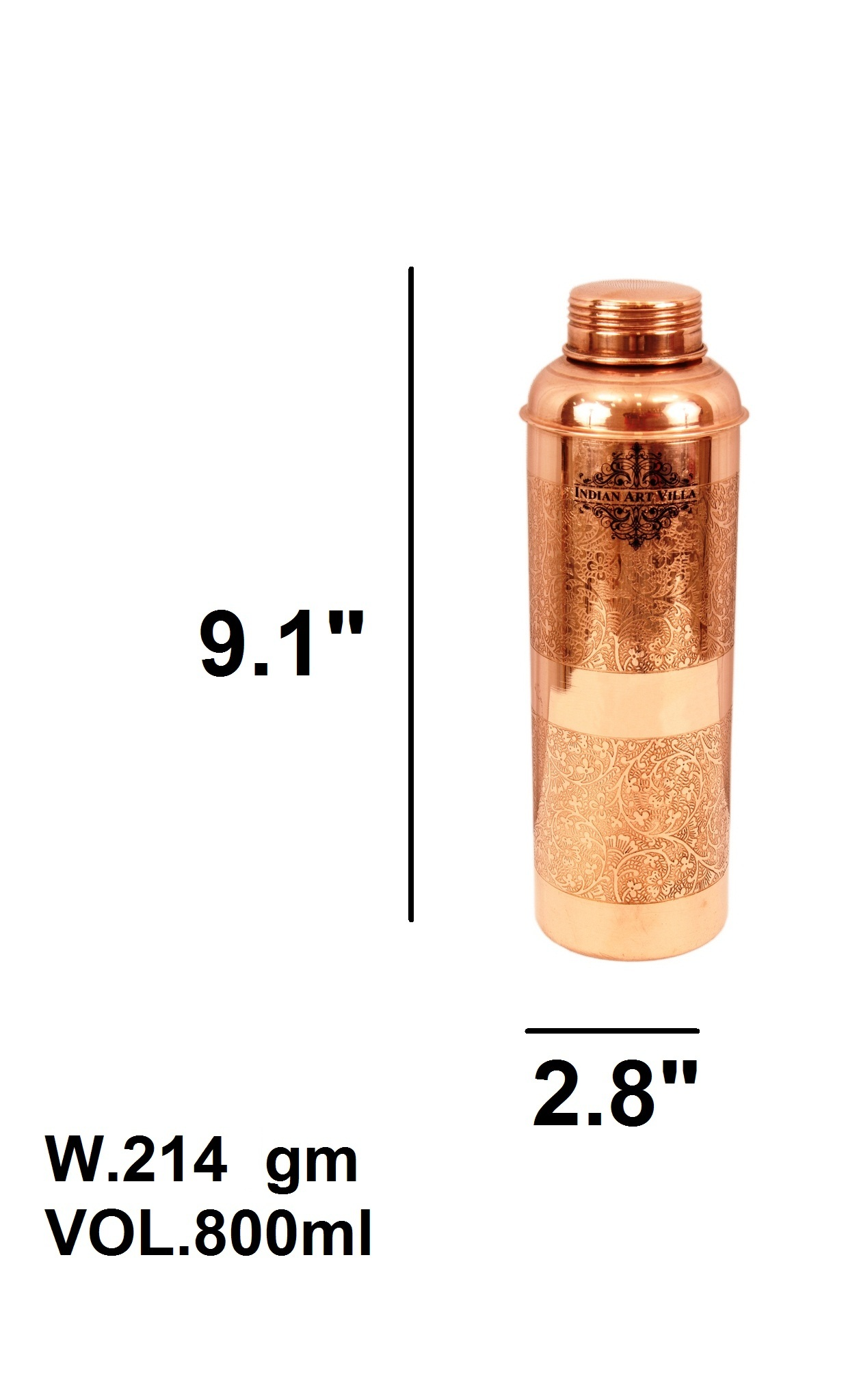 Pure copper designer embossed bisleri design bottle