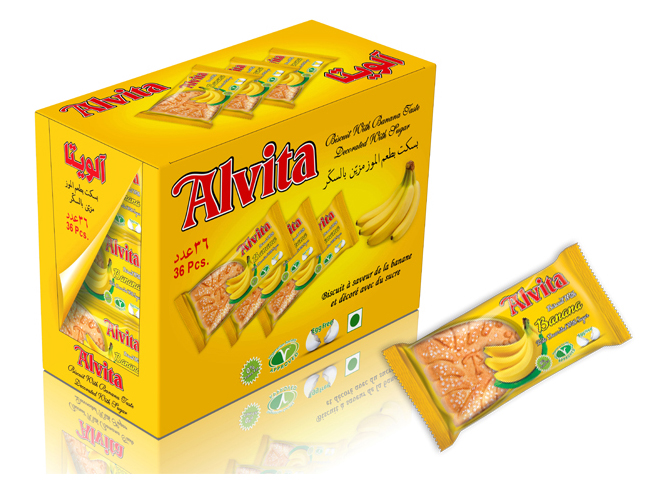Biscuit with Banana Taste Topped with Sugar - Shiny (36 Pcs)