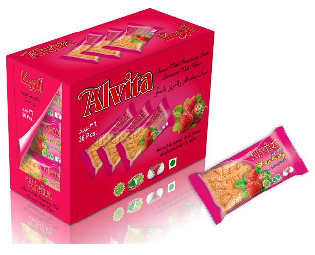 Biscuit with Strawberry Taste Topped with Sugar - Shiny (36 Pcs)