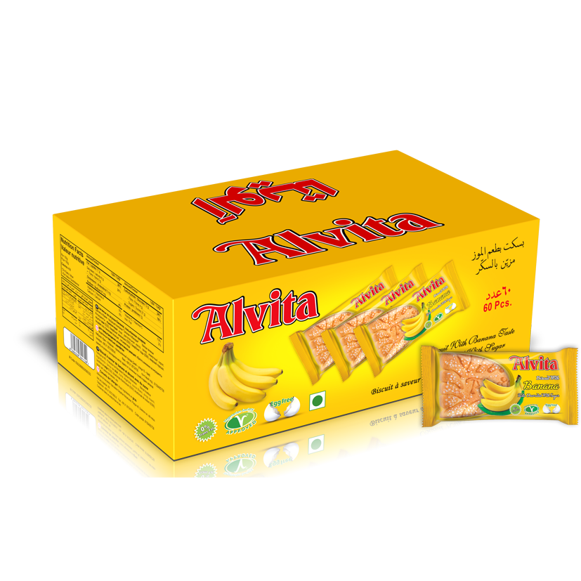 Biscuit with Banana Taste Topped with Sugar - Shiny (60 Pcs)