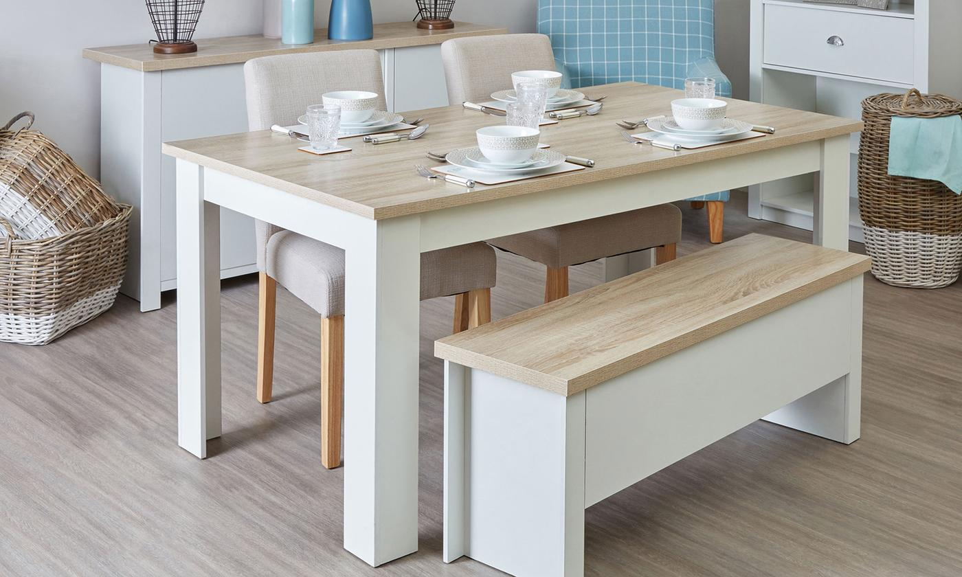 Small or Large Dining Table with Benches Furniture