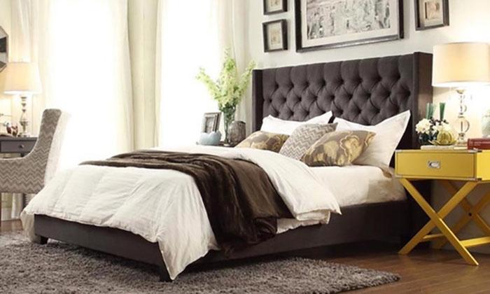 Skyline Upholstered Wingback Tufted Bed Frame Furniture