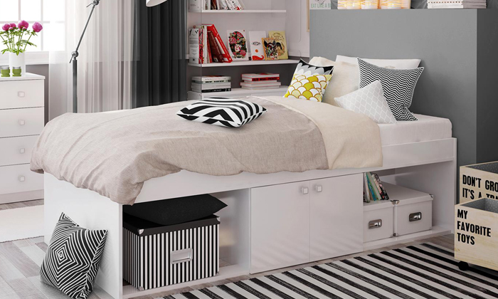 Kidsaw Single Bed with Storage with Optional Mattress Furniture