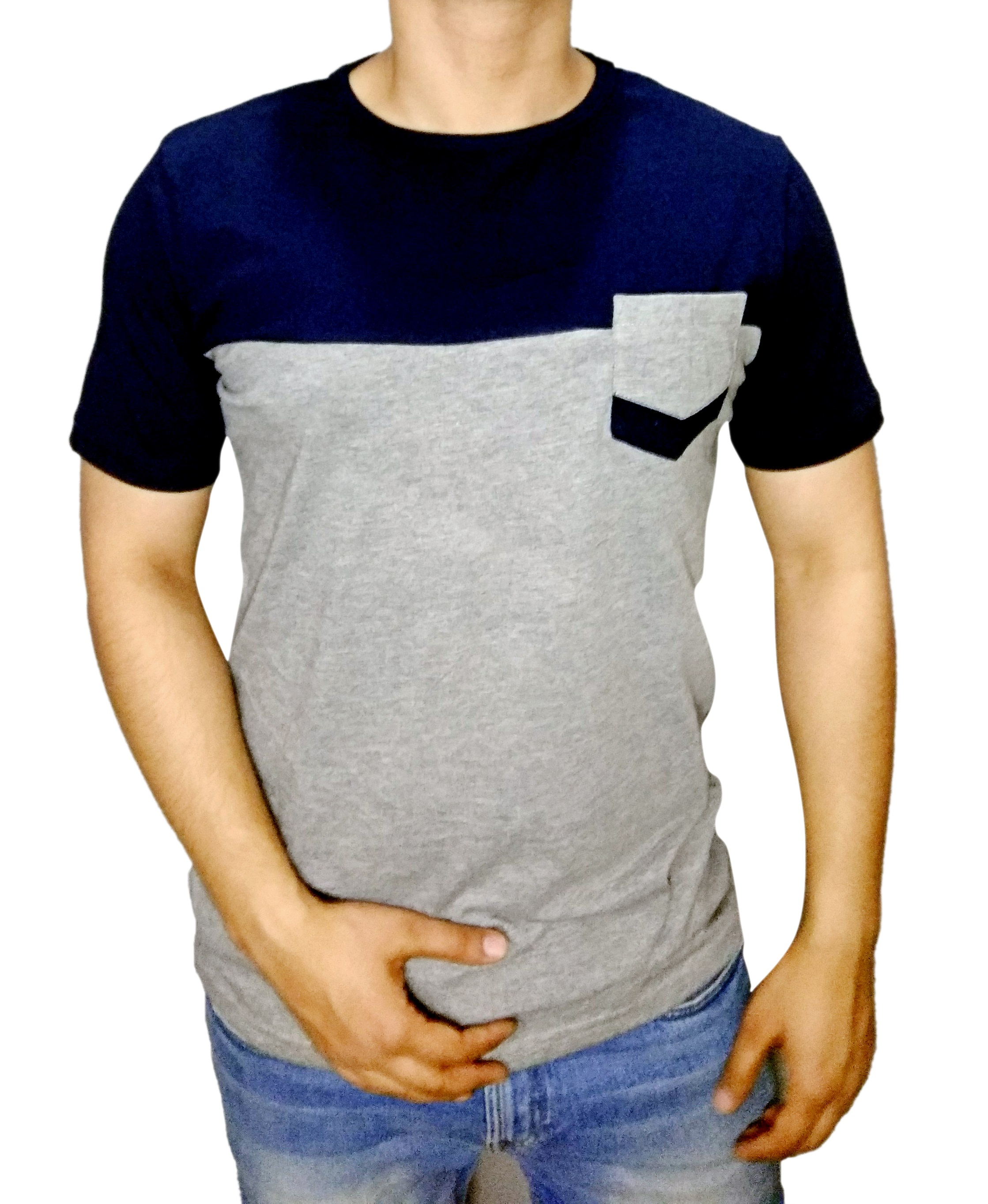 Mens round neck t-shirt with pocket navy & grey