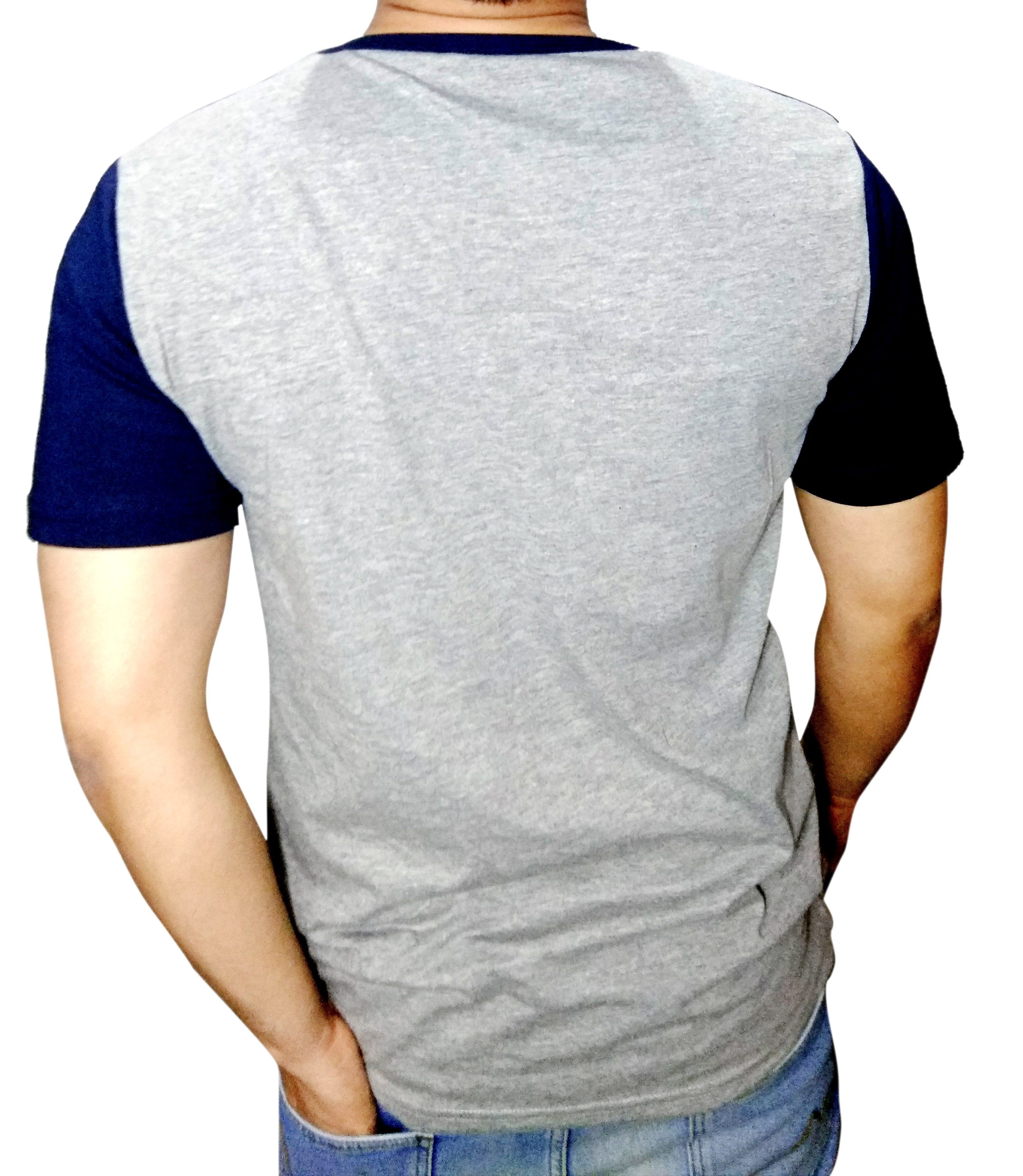 Mens Round Neck T-Shirt with Pocket Navy & Grey_2