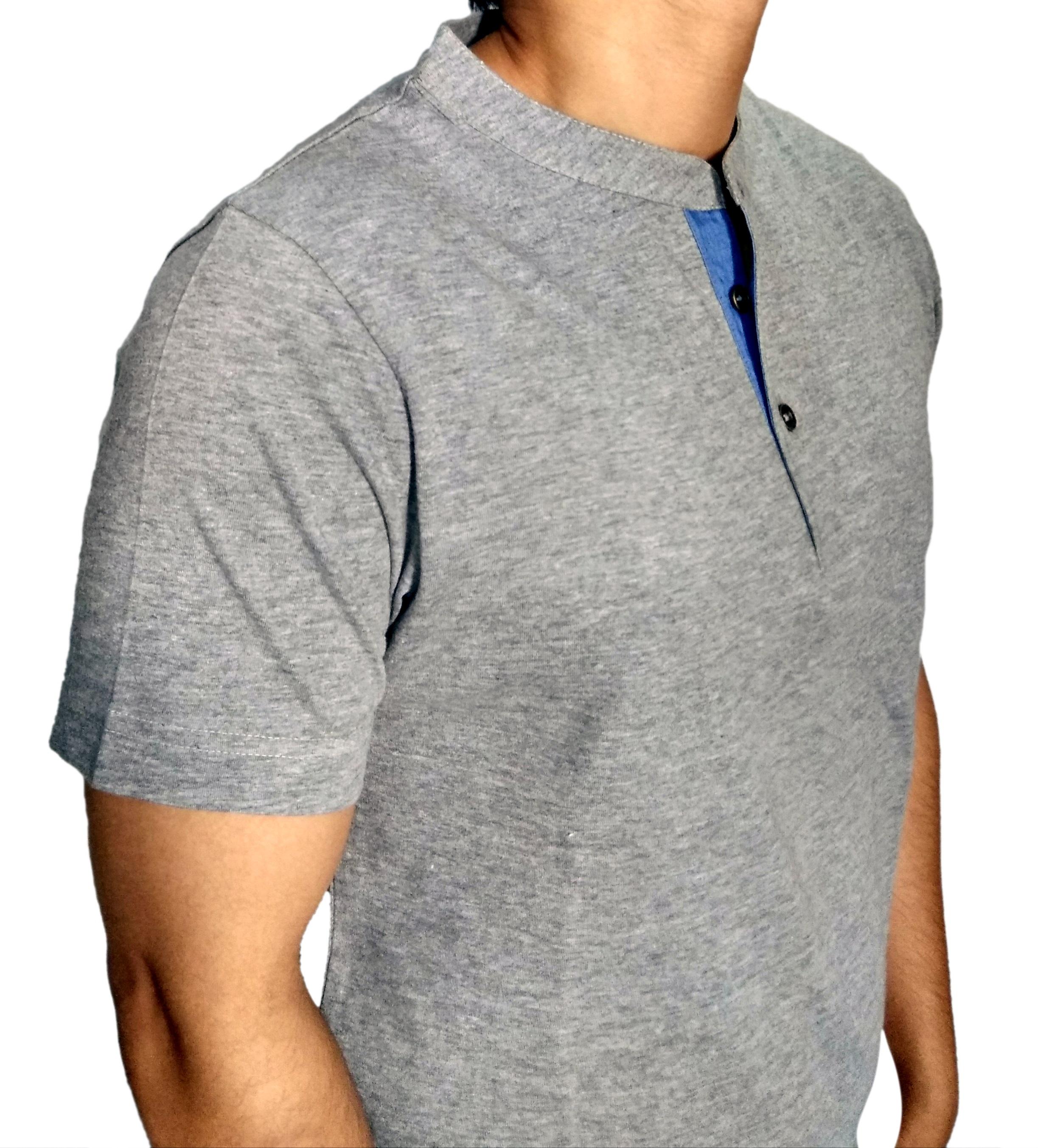 Color swing men grey milange henley t shirt with blue denium moon patch