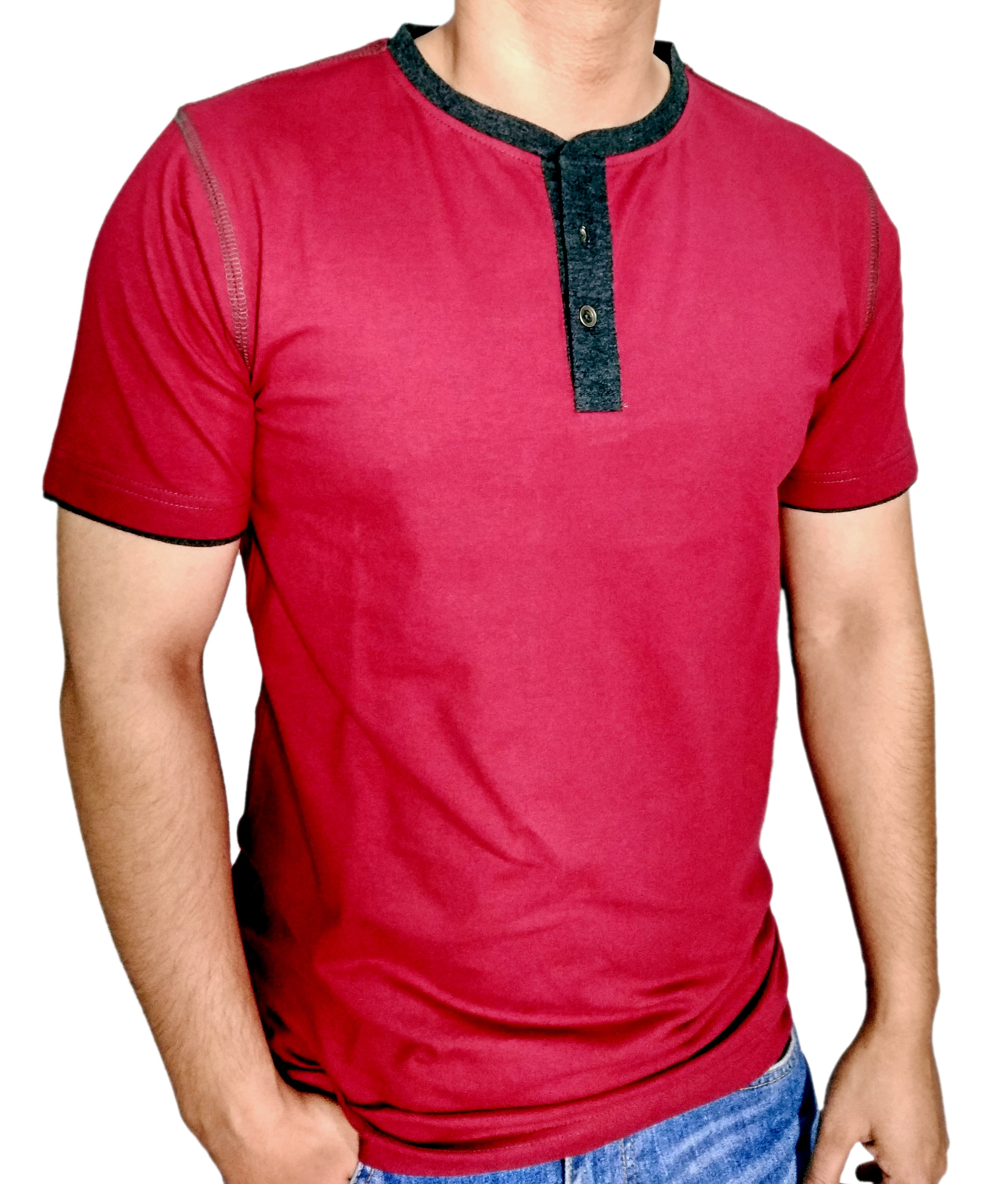 Mens burgundy henley t shirt with bk 15 milange moon patch