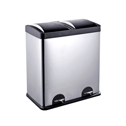 Hygienic stainless steel pedal bin with inner casing