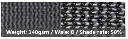 140gsm/8/50% shade net