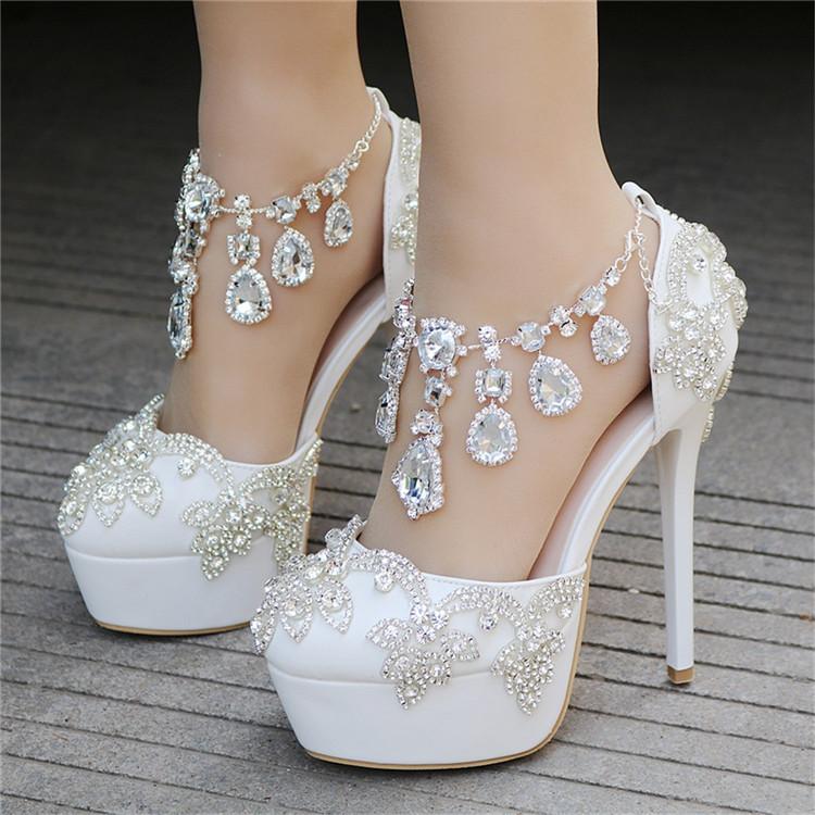 Fashion Luxury Rhinestone Ultra High Heels Women's Wedding Shoes_4