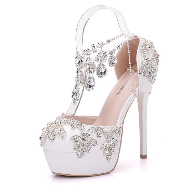 Fashion Luxury Rhinestone Ultra High Heels Women's Wedding Shoes_2