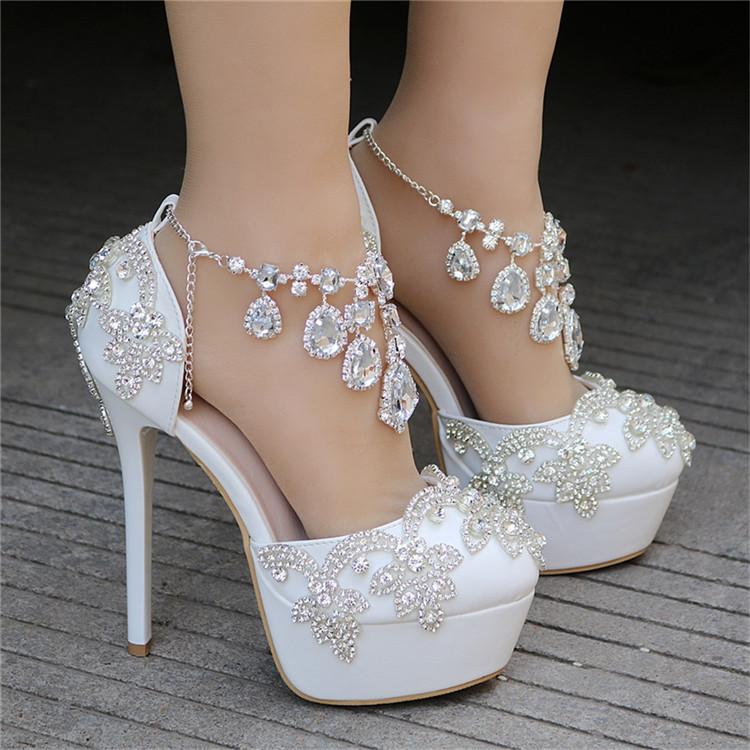 Fashion Luxury Rhinestone Ultra High Heels Women's Wedding Shoes_5