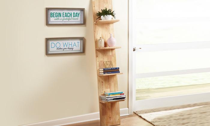 Simple Living Natural Wood Ladder Shelf